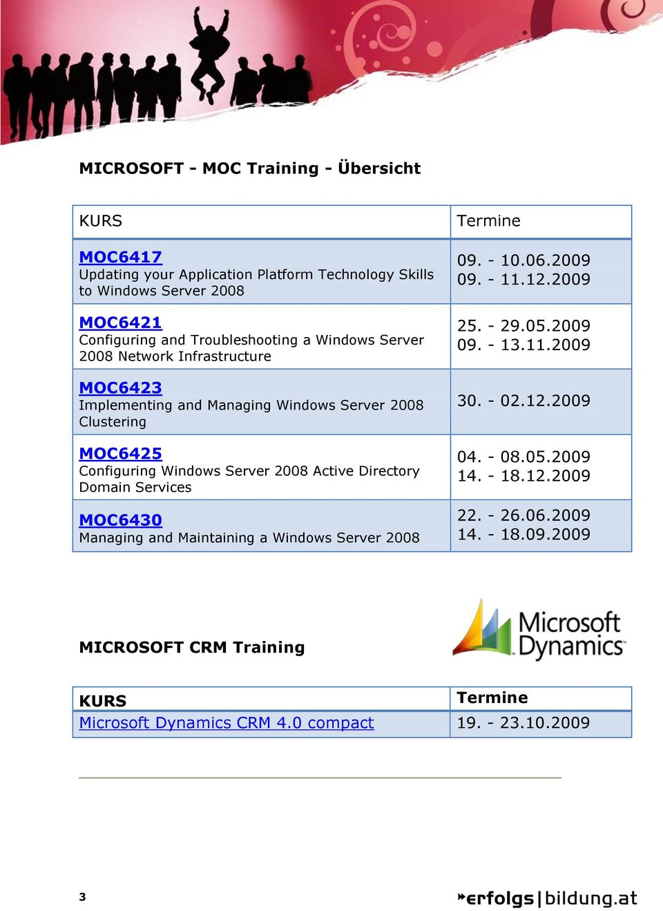 2008 Active Directory Domain Services MOC6430 Managing and Maintaining a Windows Server 2008 Termine 09. - 10.06.2009 09. - 11.12.2009 25. - 29.05.2009 09. - 13.11.2009 30.