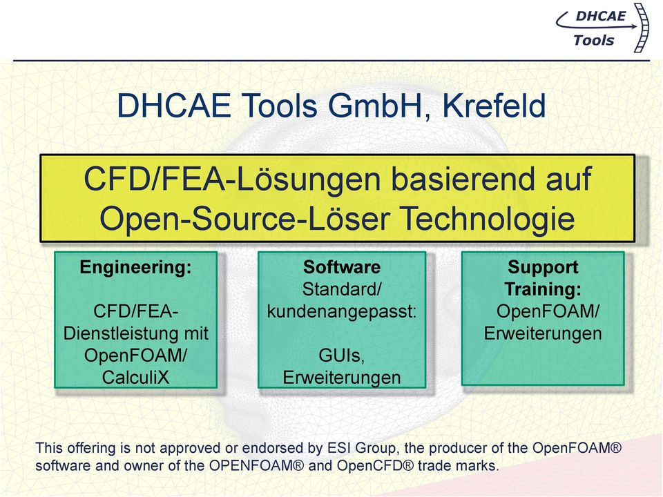 GUIs, Erweiterungen Support Training: OpenFOAM/ Erweiterungen This offering is not approved or