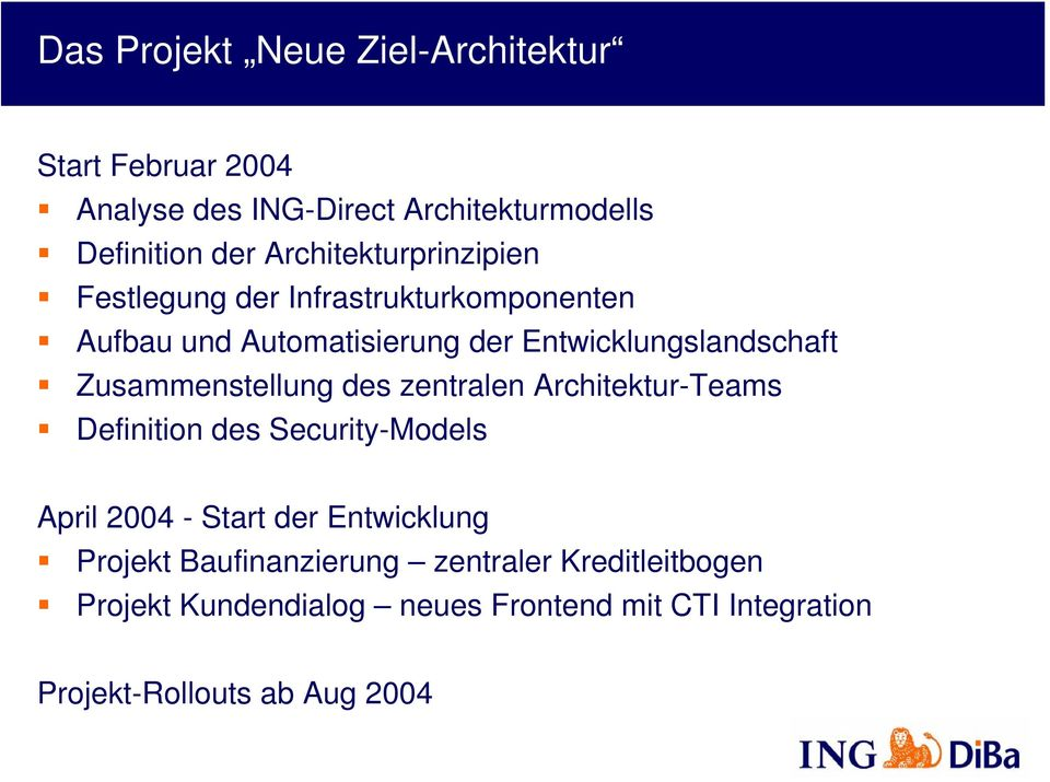 Zusammenstellung des zentralen Architektur-Teams Definition des Security-Models April 2004 - Start der Entwicklung