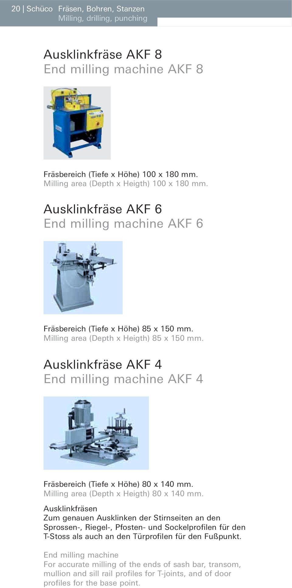 Ausklinkfräse AKF 4 End milling machine AKF 4 Fräsbereich (Tiefe x Höhe) 80 x 140 mm. Milling area (Depth x Heigth) 80 x 140 mm.
