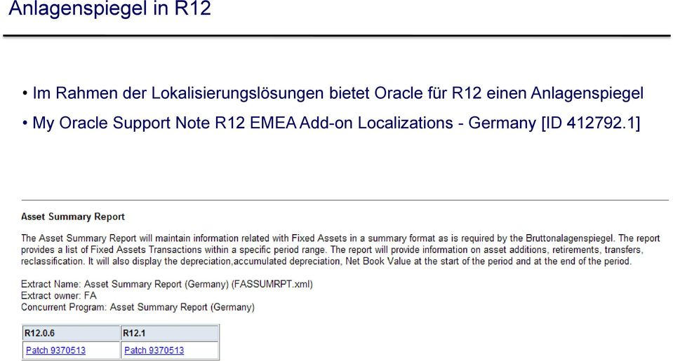 einen Anlagenspiegel My Oracle Support Note
