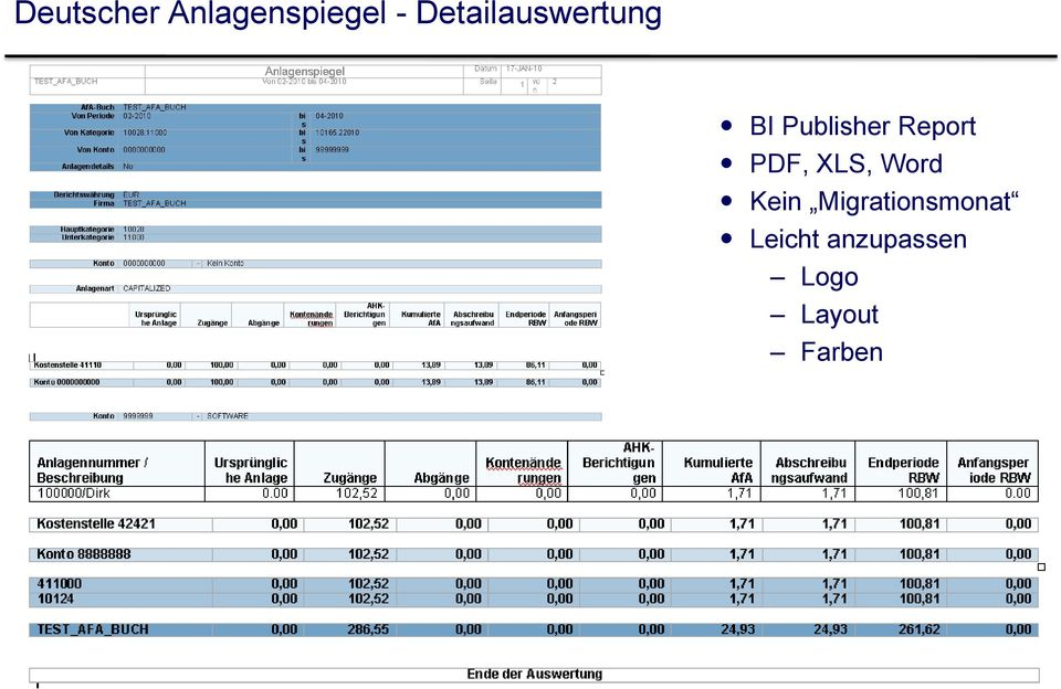Report PDF, XLS, Word Kein