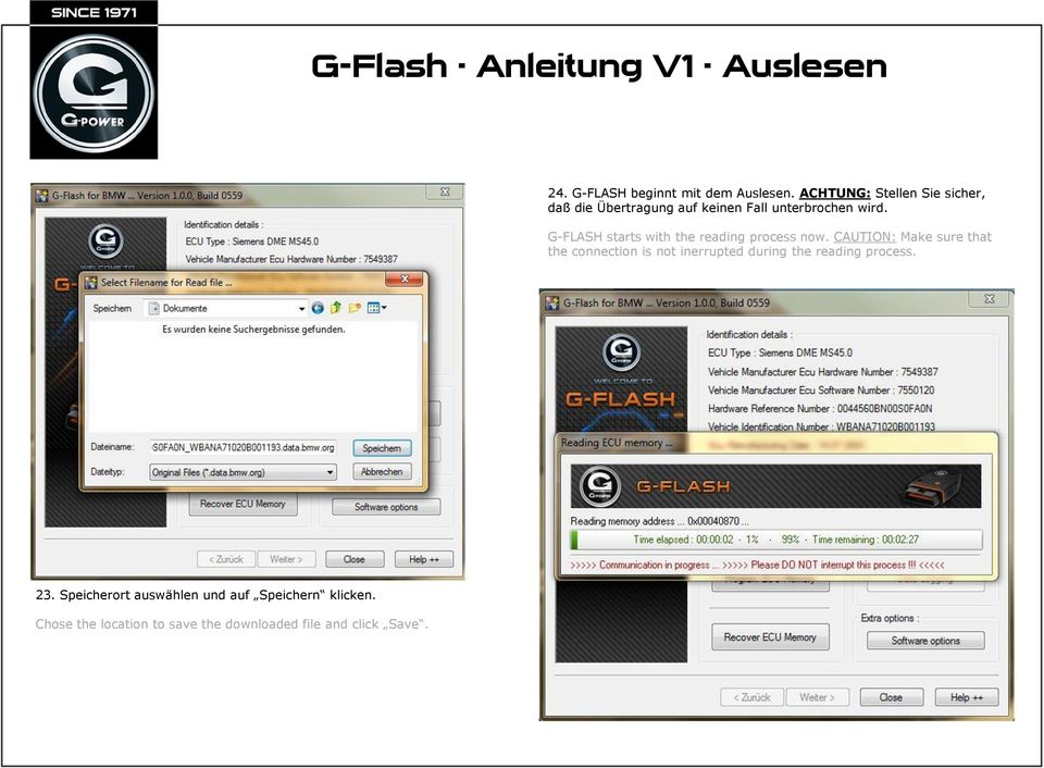 G-FLASH starts with the reading process now.