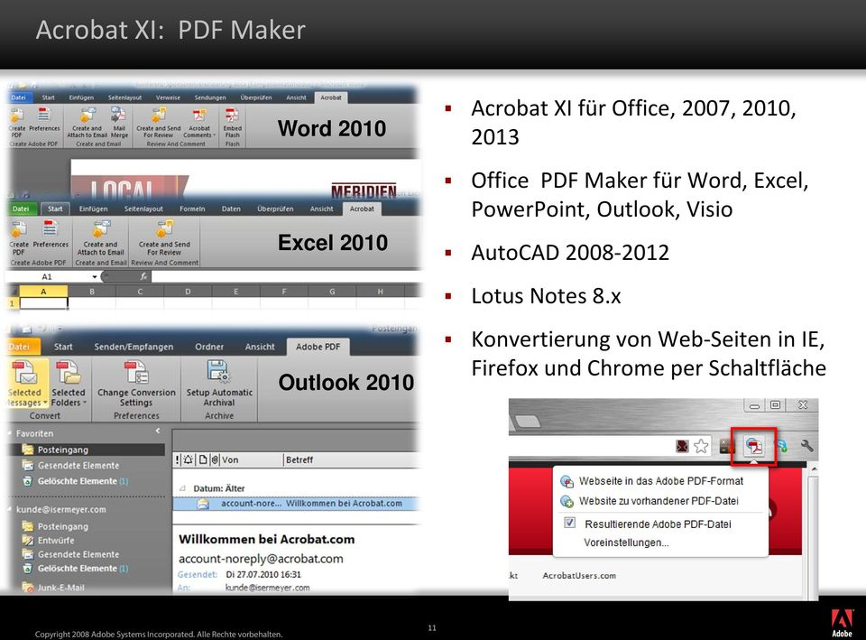 Outlook, Visio AutoCAD 2008-2012 Lotus Notes 8.