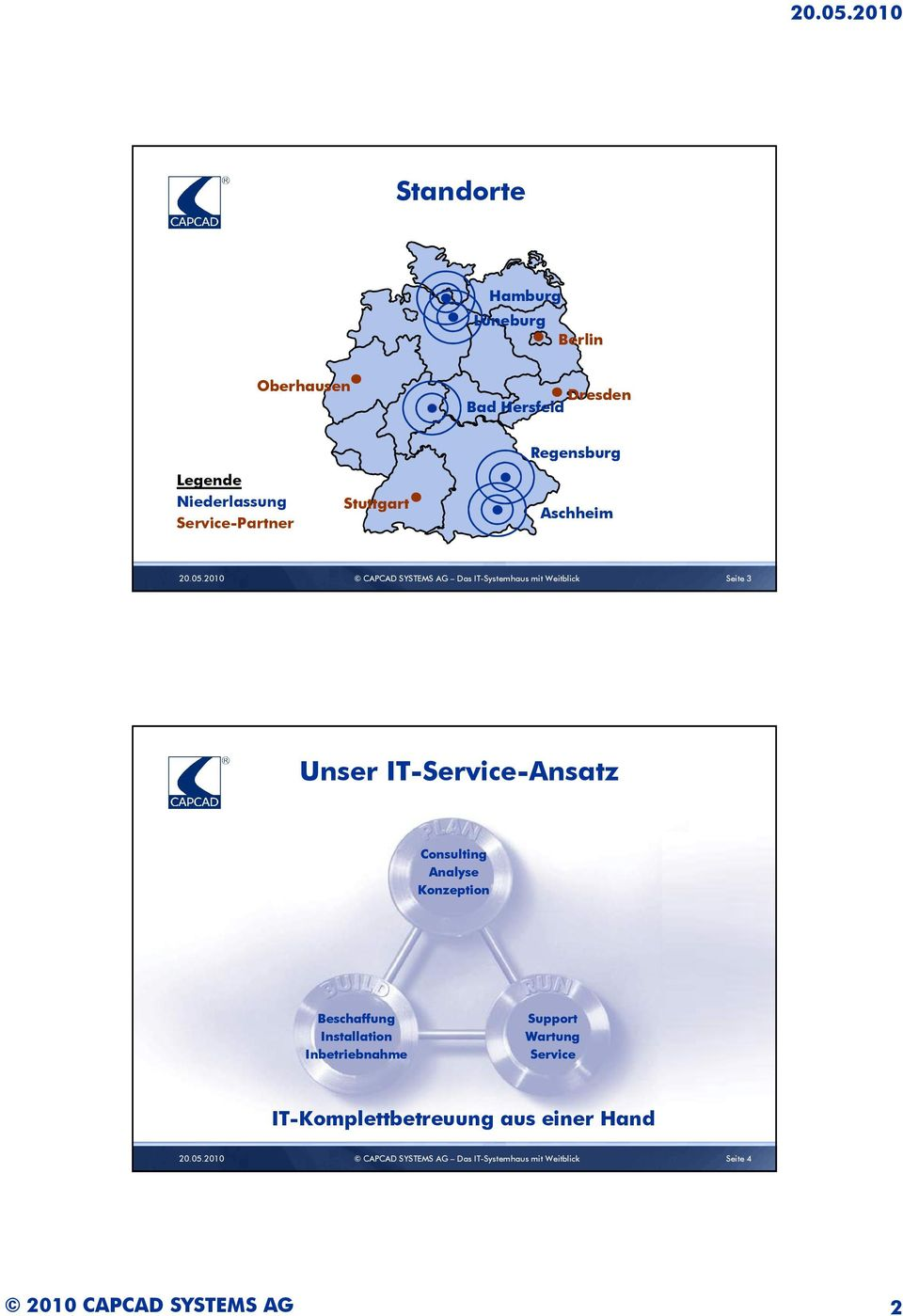 2010 CAPCAD SYSTEMS AG Das IT-Systemhaus mit Weitblick Seite 3 Unser IT-Service-Ansatz Consulting Analyse