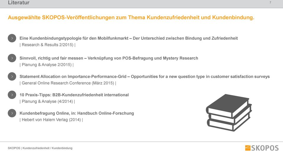 Verknüpfung von POS-Befragung und Mystery Research Planung & Analyse 2/2015) Statement Allocation on Importance-Performance-Grid Opportunities for a new question type
