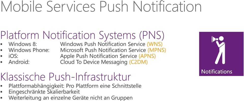 Service Android: Cloud To Device Messaging Klassische Push-Infrastruktur Plattformabhängigkeit: Pro