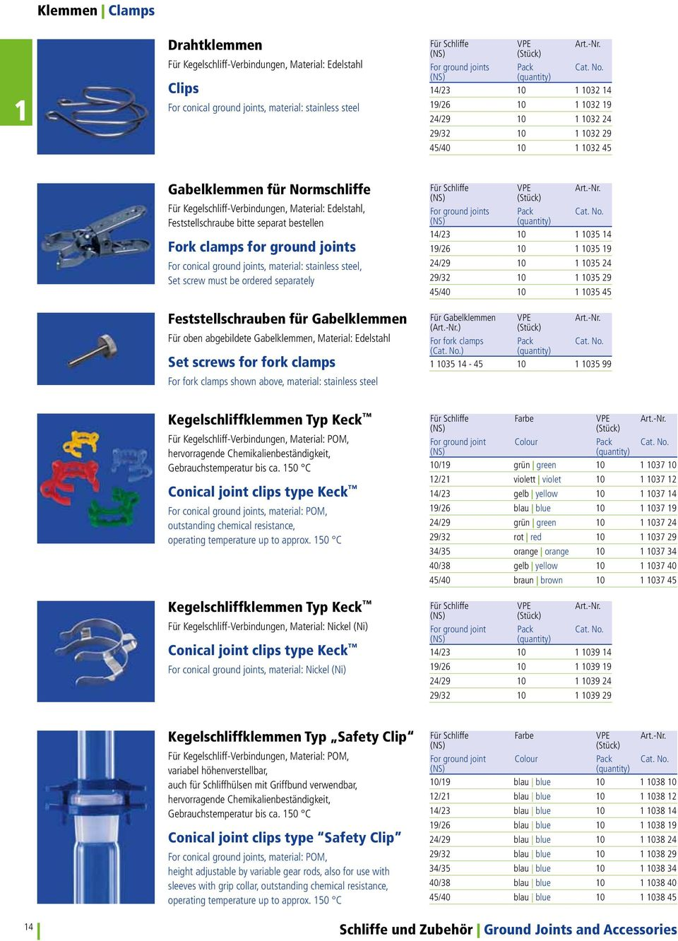 clamps for ground joints For conical ground joints, material: stainless steel, Set screw must be ordered separately Feststellschrauben für Gabelklemmen Für oben abgebildete Gabelklemmen, Material:
