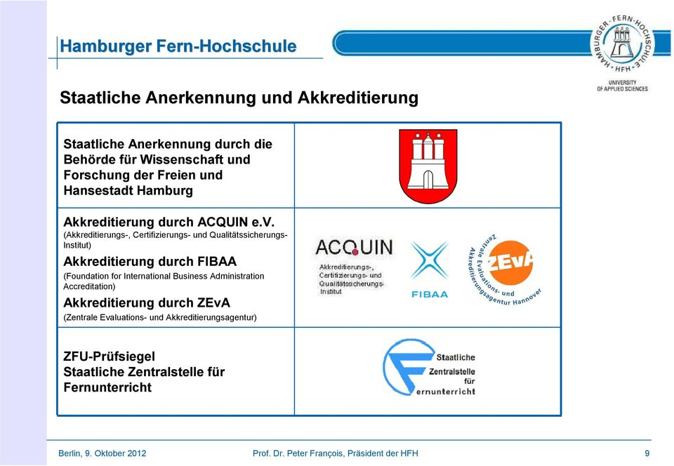(Akkreditierungs-, Certifizierungs- und Qualitätssicherungs- Institut) Akkreditierung durch FIBAA (Foundation for International