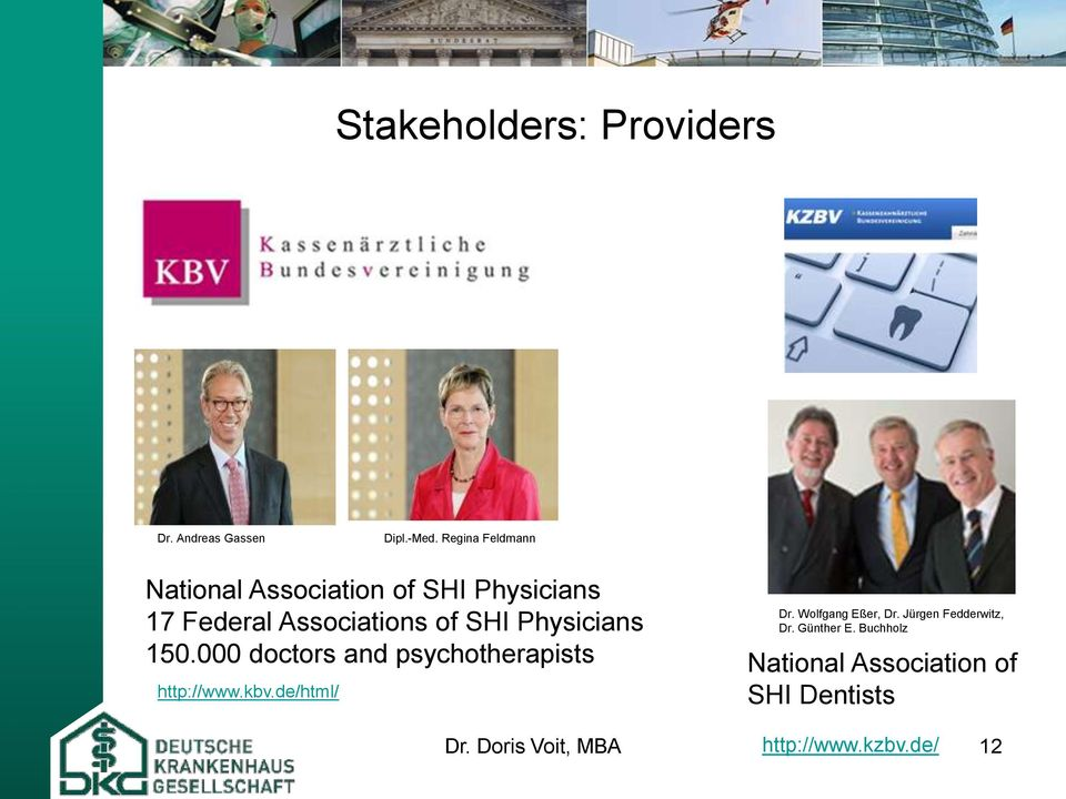 Jürgen Fedderwitz, 17 Federal Associations of SHI Physicians Dr. Günther E. Buchholz 150.