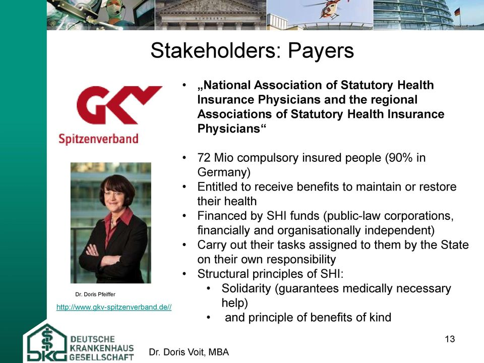 de// 72 Mio compulsory insured people (90% in Germany) Entitled to receive benefits to maintain or restore their health Financed by SHI funds (public-law