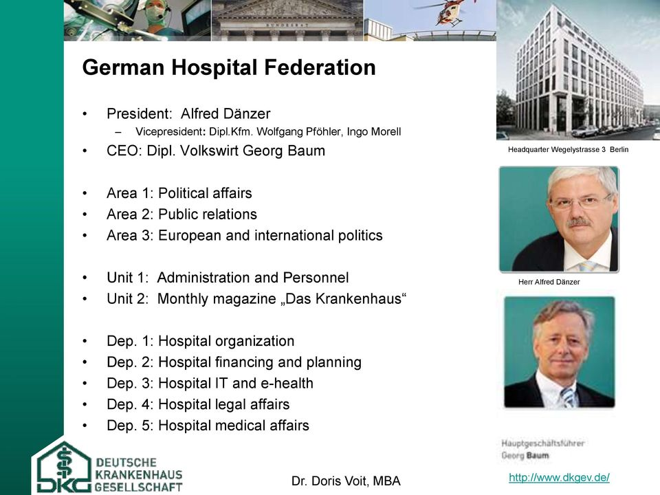 politics Unit 1: Administration and Personnel Unit 2: Monthly magazine Das Krankenhaus Herr Alfred Dänzer Dep. 1: Hospital organization Dep.