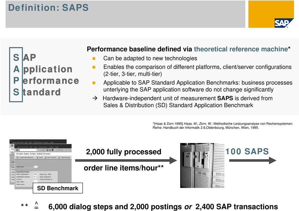 significantly Hardware-independent unit of measurement SAPS is derived from Sales & Distribution (SD) Standard Application Benchmark *[Haas & Zorn 1995] Haas, M.; Zorn, W.