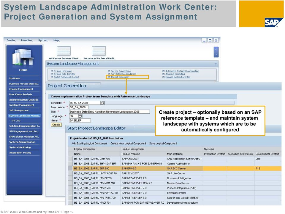 Select automatically and view landscape configured definition, here for Business Suite Easy Adoption