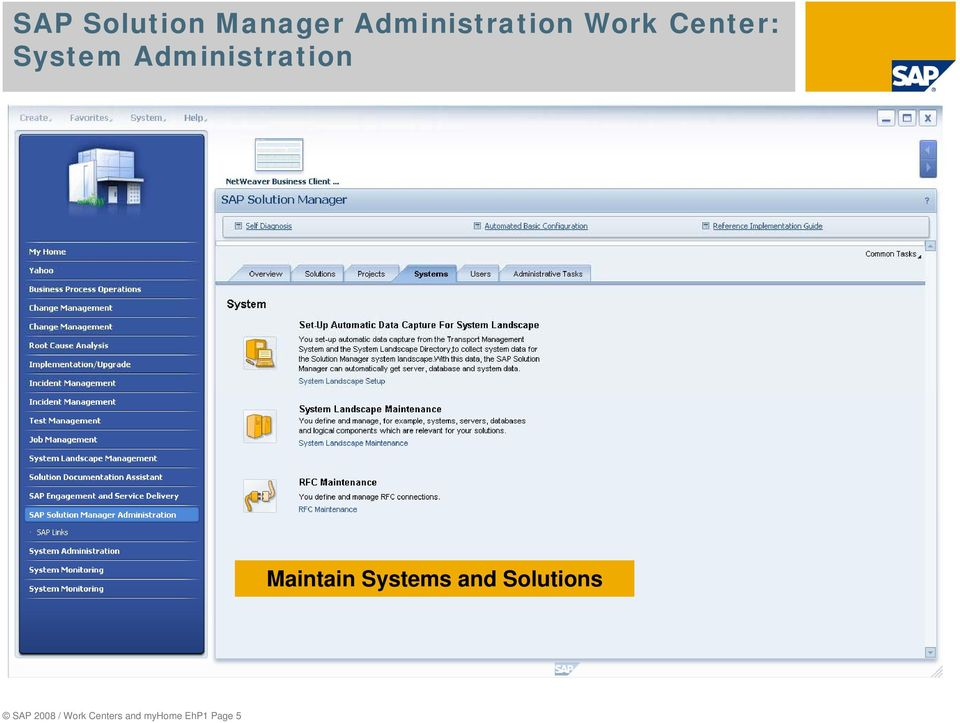 Maintain Systems and Solutions SAP