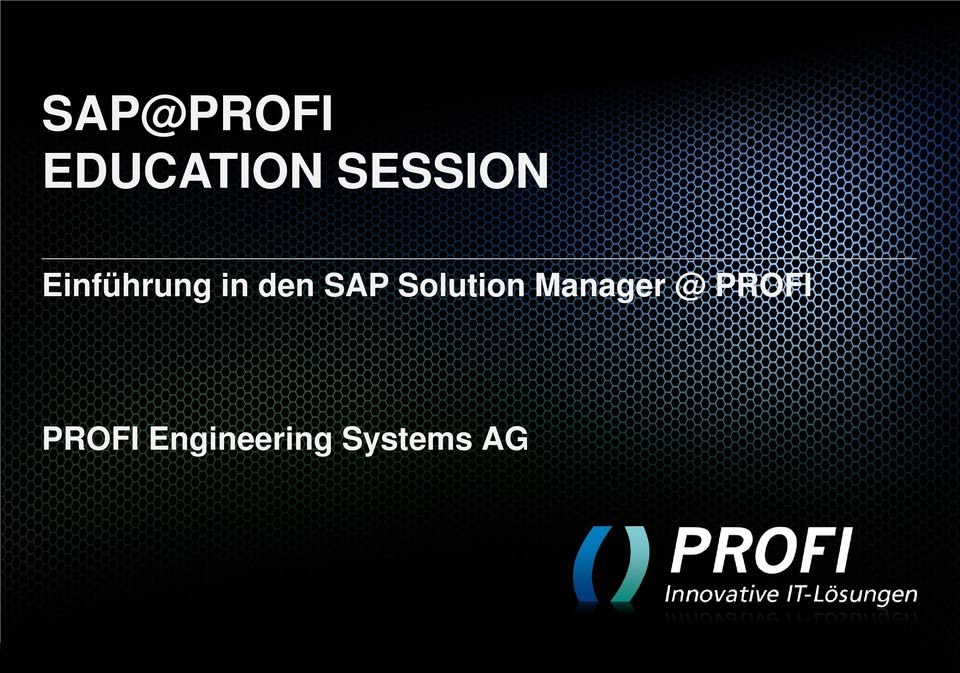 SAP Solution Manager @