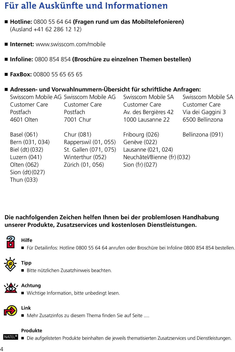 Mobile AG Swisscom Mobile SA Swisscom Mobile SA Customer Care Postfach 4601 Olten Customer Care Postfach 7001 Chur Customer Care Av.
