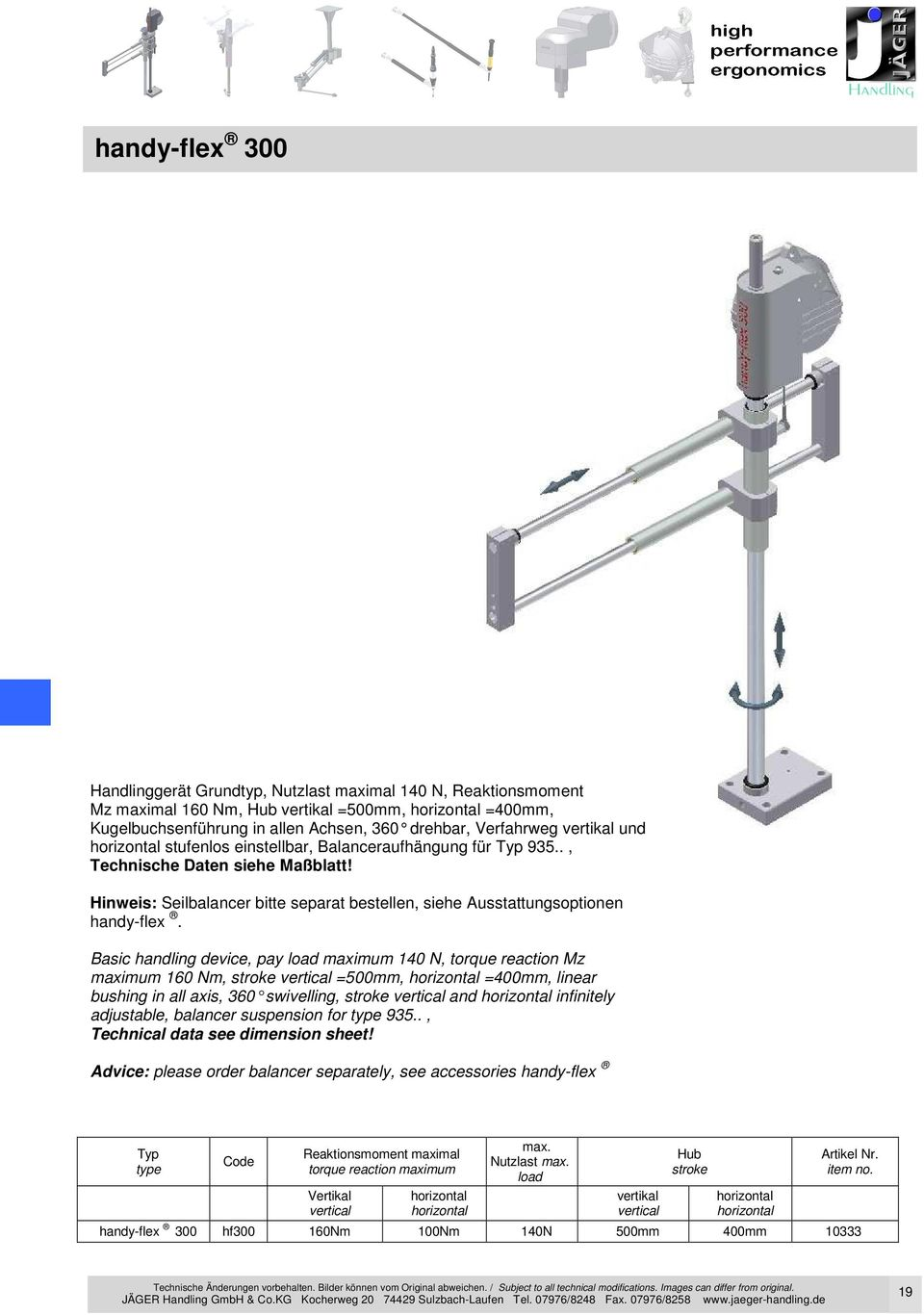 Basic handling device, pay load maximum 140 N, torque reaction Mz maximum 160 Nm, stroke vertical =500mm, =400mm, linear bushing in all axis, 360 swivelling, stroke vertic al and infinitely