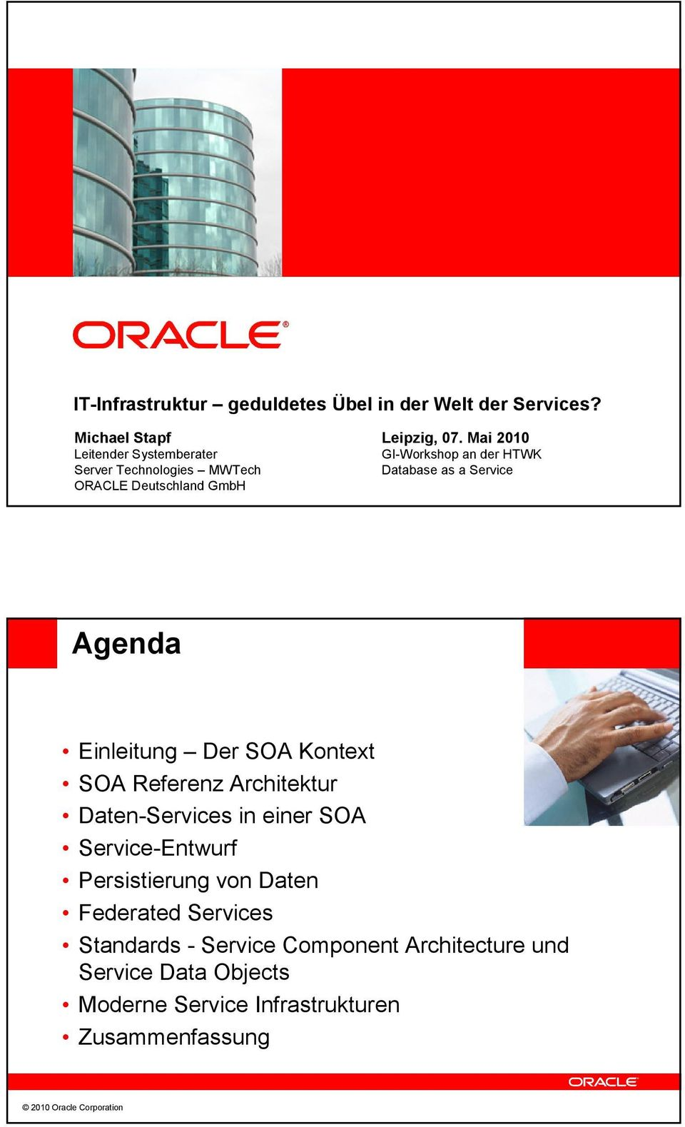 Mai 200 GI-Workshop an der HTWK Database as a Service Agenda Einleitung Der SOA Kontext SOA Referenz Architektur Daten-Services