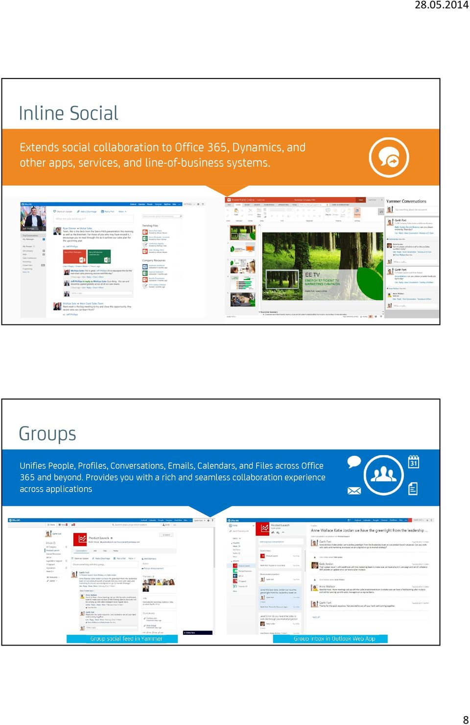 Enables you to participate in social conversations from the tools of your choice Groups Unifies