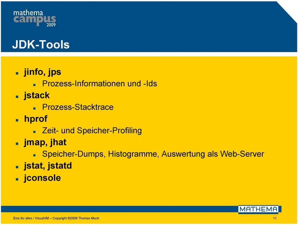 Speicher-Dumps, Histogramme, Auswertung als Web-Server jstat,