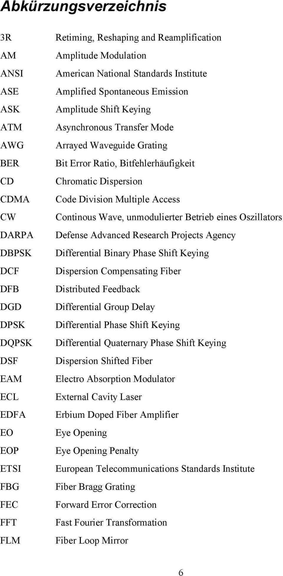 Chromatic Dispersion Code Division Multiple Access Continous Wave, unmodulierter Betrieb eines Oszillators Defense Advanced Research Projects Agency Differential Binary Phase Shift Keying Dispersion
