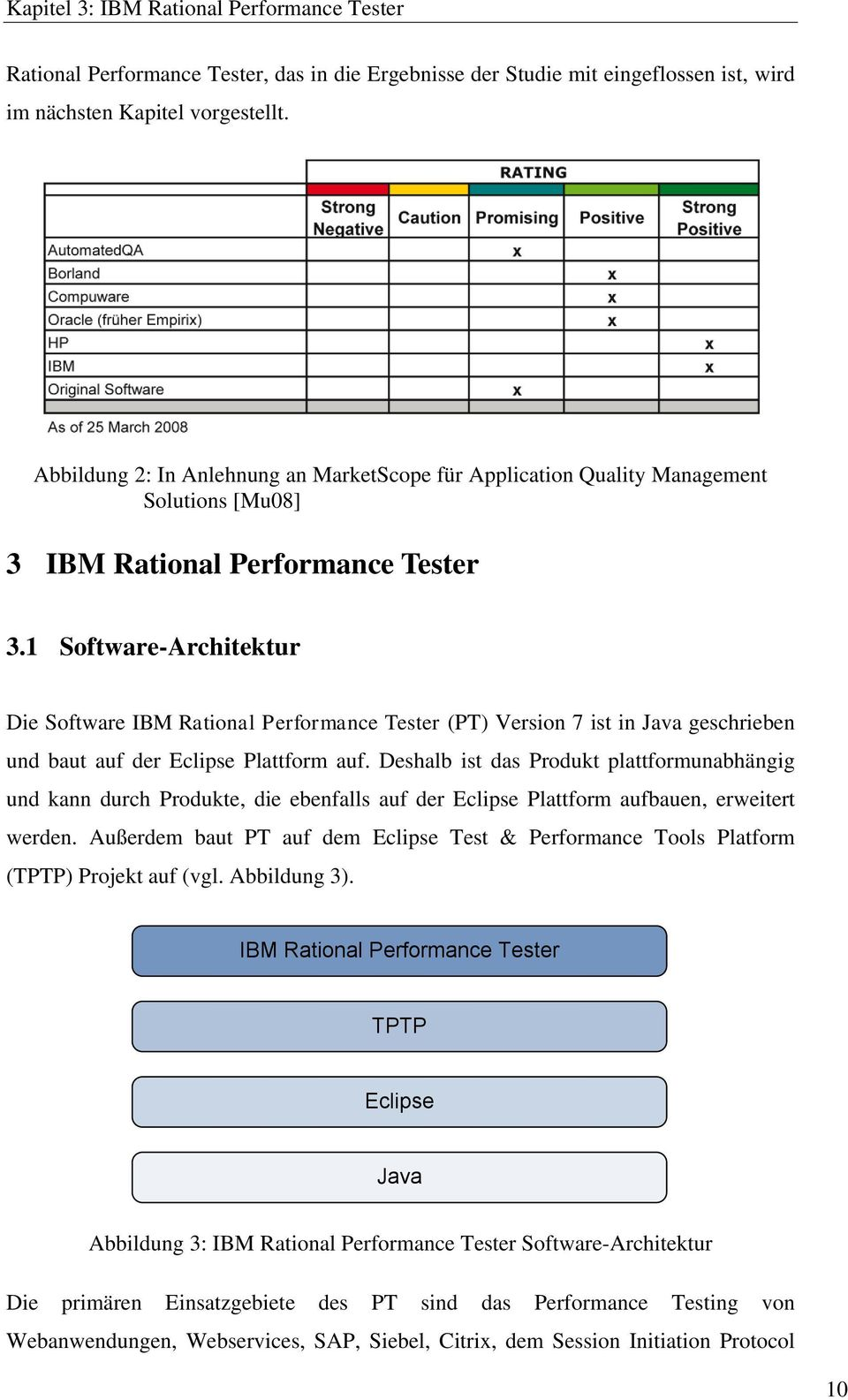 1 Software-Architektur Die Software IBM Rational Performance Tester (PT) Version 7 ist in Java geschrieben und baut auf der Eclipse Plattform auf.