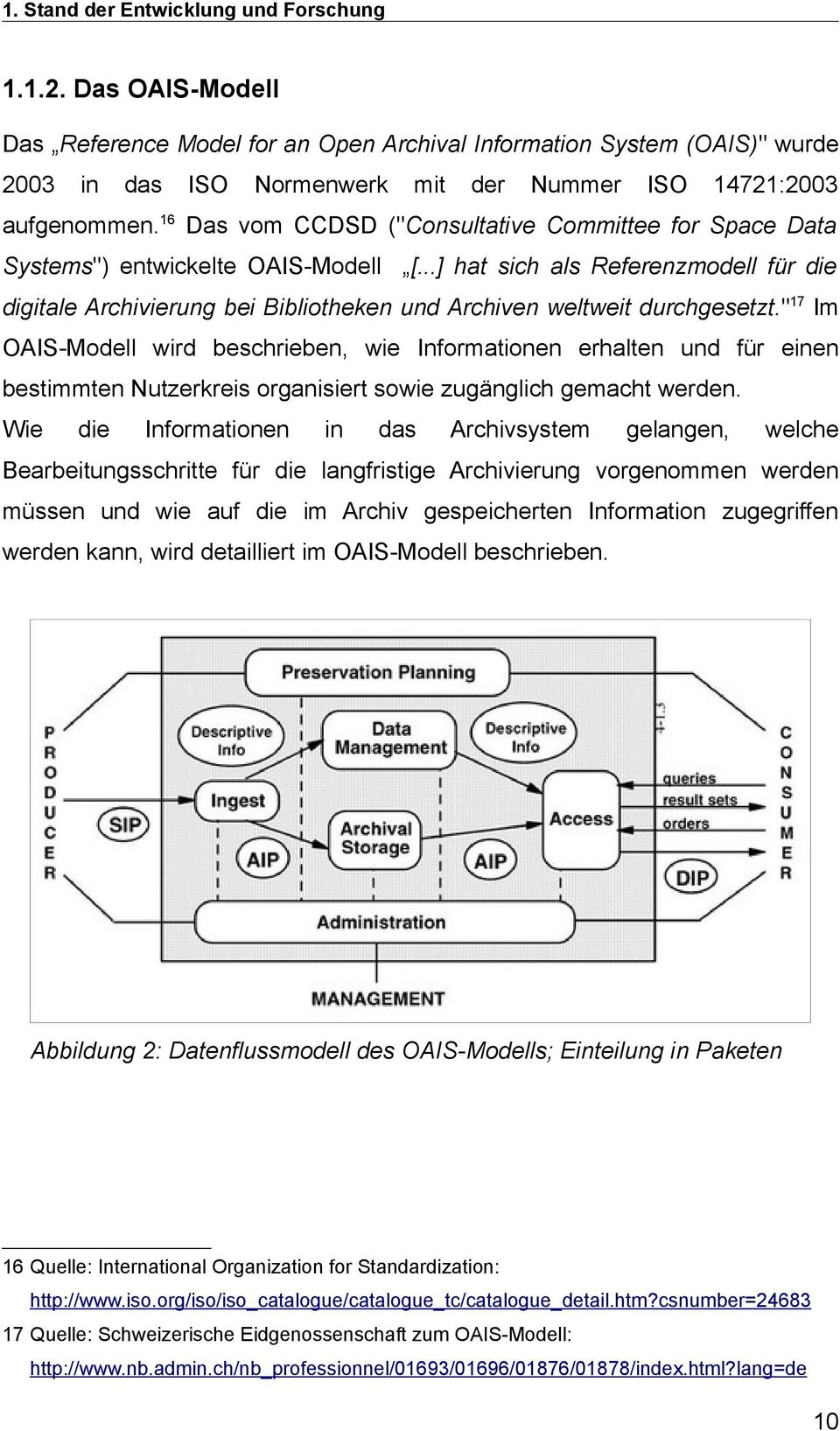 "16 Das vom CCDSD (""Consultative Committee for Space Data Systems"") entwickelte OAIS-Modell [."