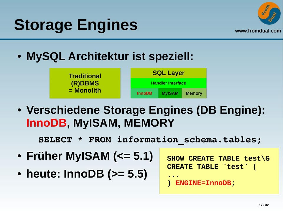 MyISAM, MEMORY SELECT * FROM information_schema.tables; Früher MyISAM (<= 5.
