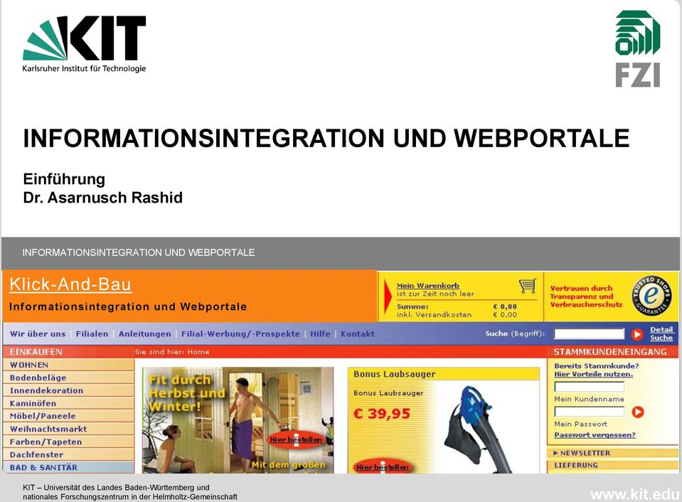 Informationsintegration und Webportale KIT Universität des Landes