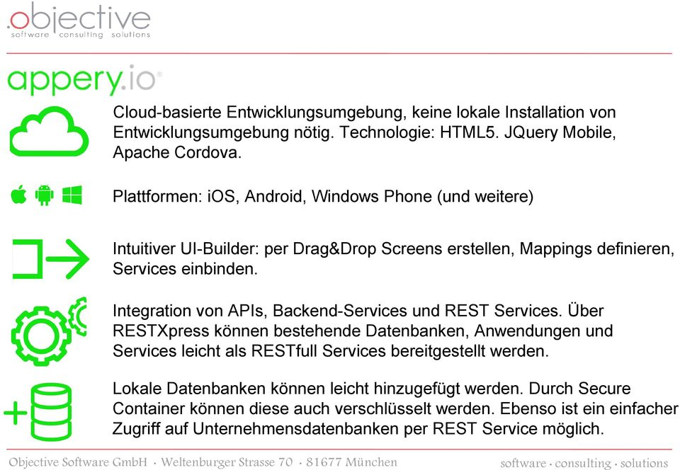Integration von APIs, Backend-Services und REST Services.