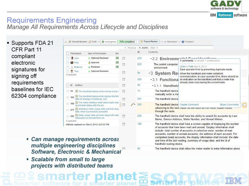 for IEC 62304 compliance Can manage requirements across multiple engineering disciplines -