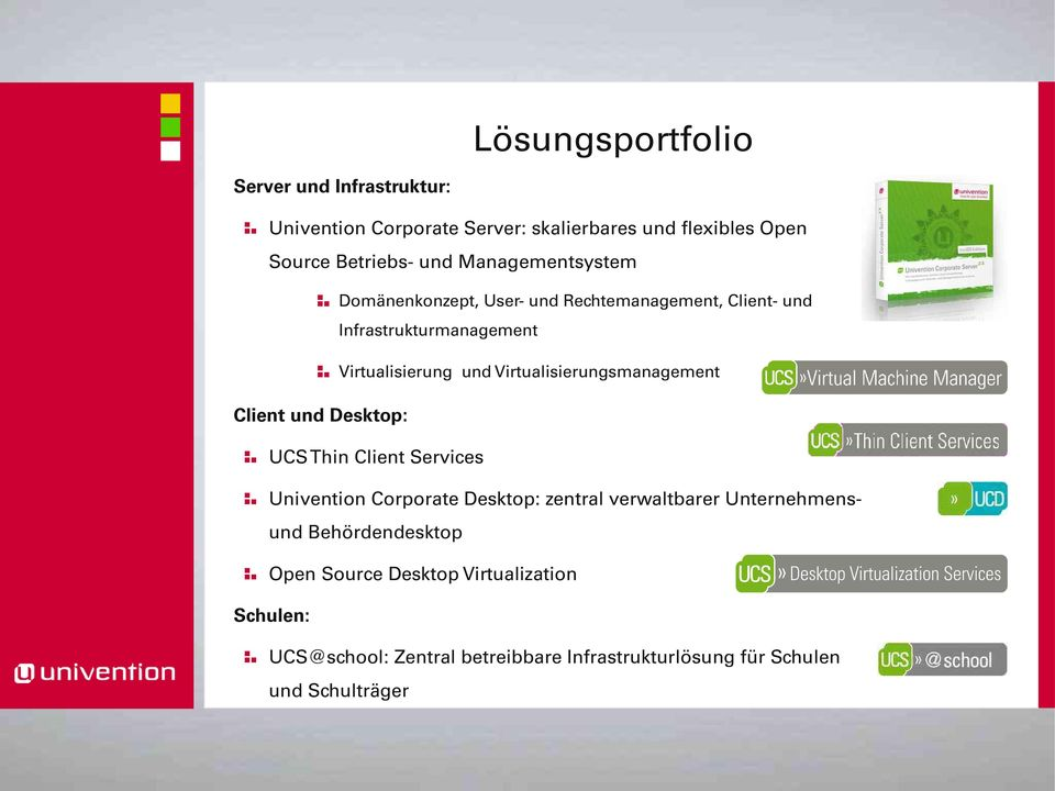 Virtualisierungsmanagement Client und Desktop: UCS Thin Client Services Univention Corporate Desktop: zentral verwaltbarer
