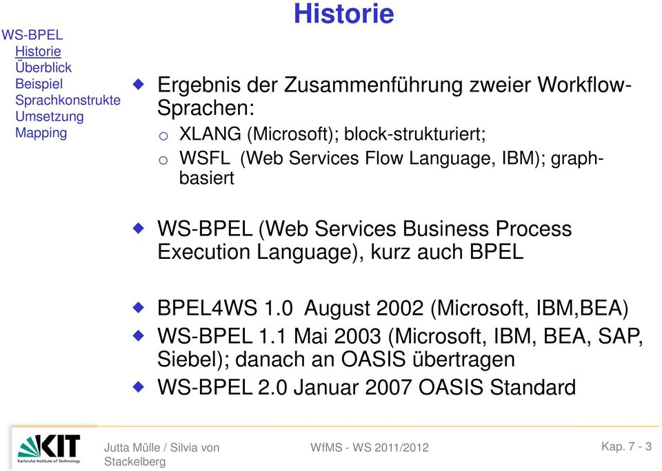 WS-BPEL (Web Services Business Process Execution Language), kurz auch BPEL BPEL4WS 1.