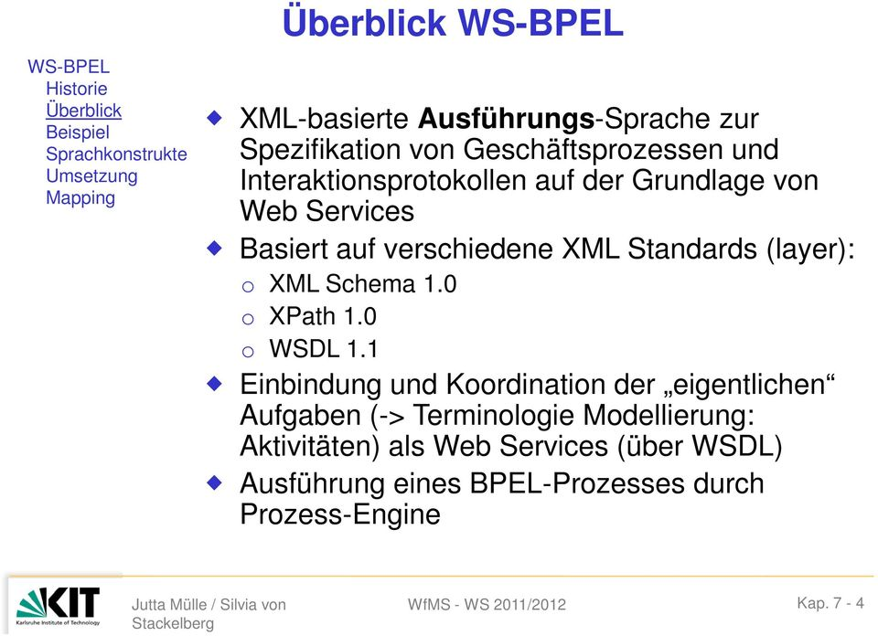 XML Standards (layer): o XML Schema 1.0 o XPath 1.0 o WSDL 1.