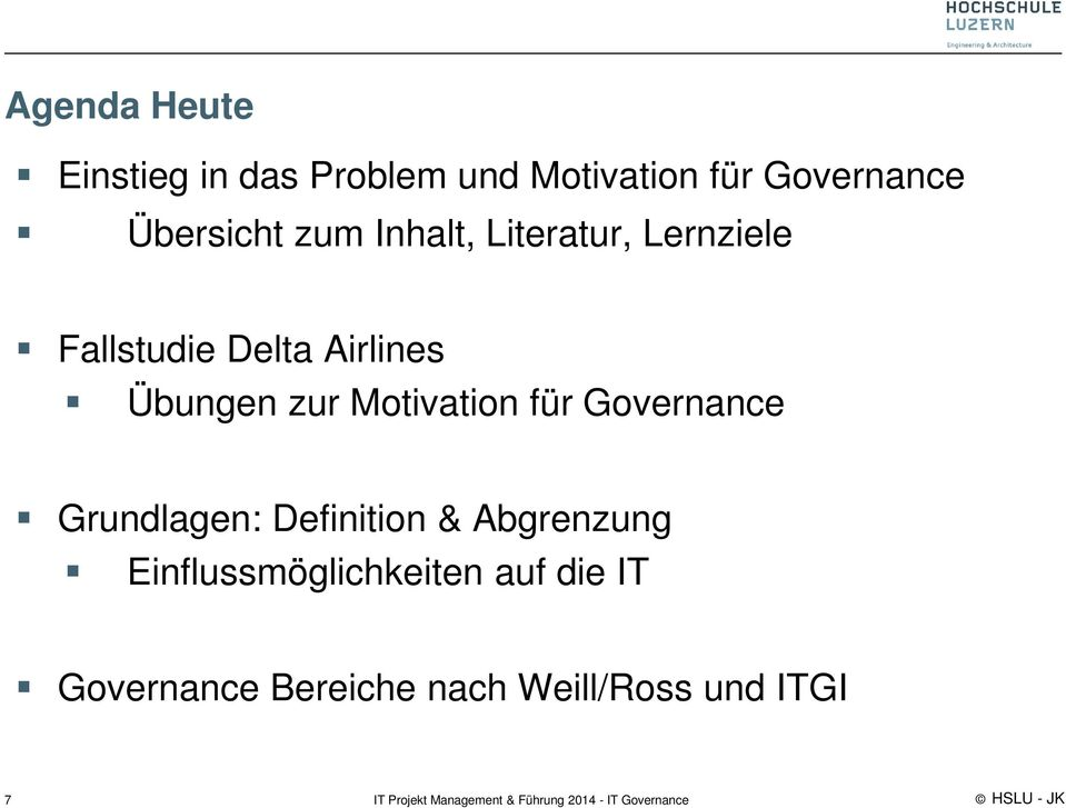 Übungen zur Motivation für Governance Grundlagen: Definition &