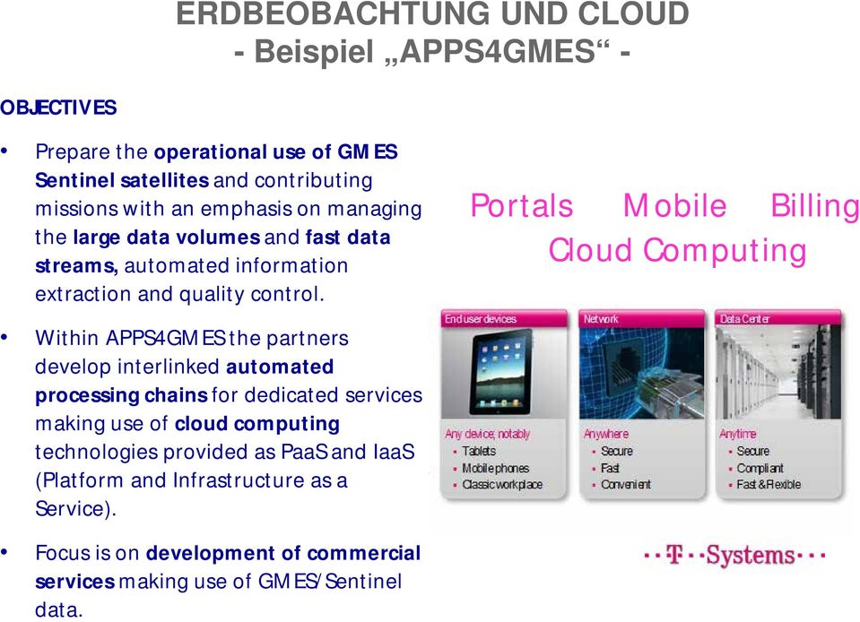Portals Mobile Billing Cloud Computing Within APPS4GMES the partners develop interlinked automated processing chains for dedicated services making use