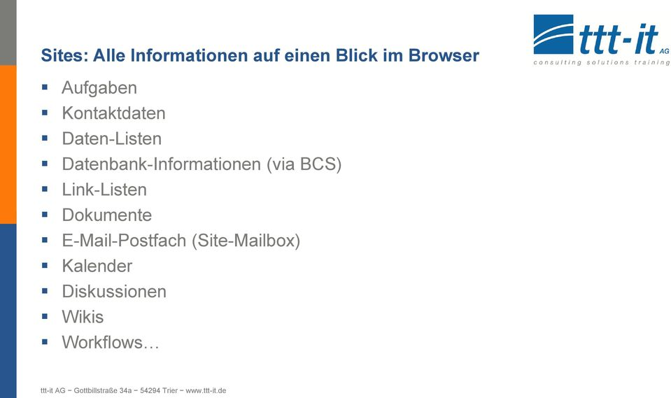 Datenbank-Informationen (via BCS) Link-Listen