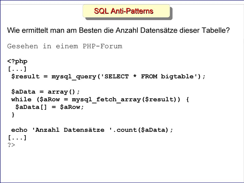 ..] $result = mysql_query('select * FROM bigtable'); $adata = array(); while