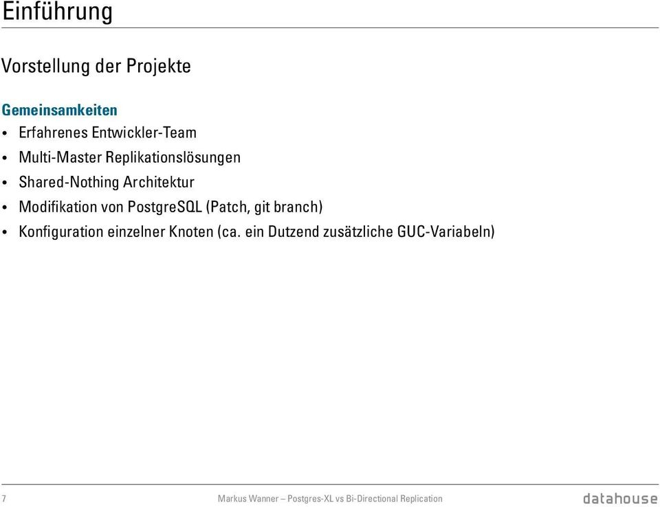 PostgreSQL (Patch, git branch) Konfiguration einzelner Knoten (ca.