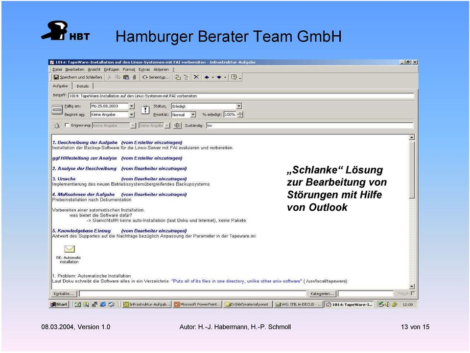 Outlook 08.03.2004, Version 1.