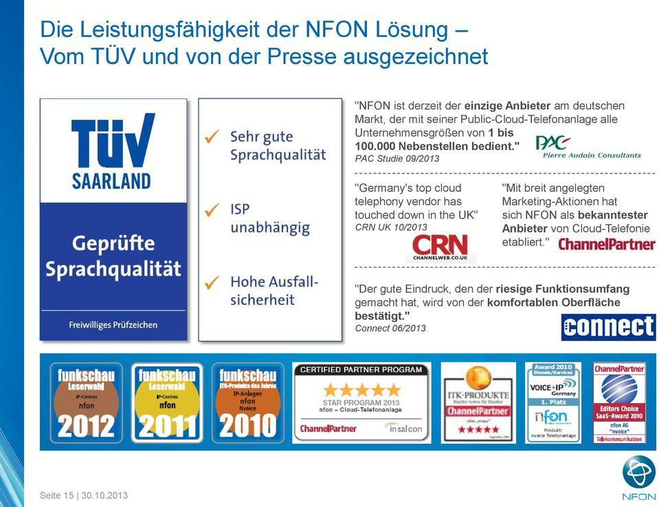 """ PAC Studie 09/2013 ""Germany's top cloud telephony vendor has touched down in the UK"" CRN UK 10/2013 ""Mit breit angelegten Marketing-Aktionen hat sich"