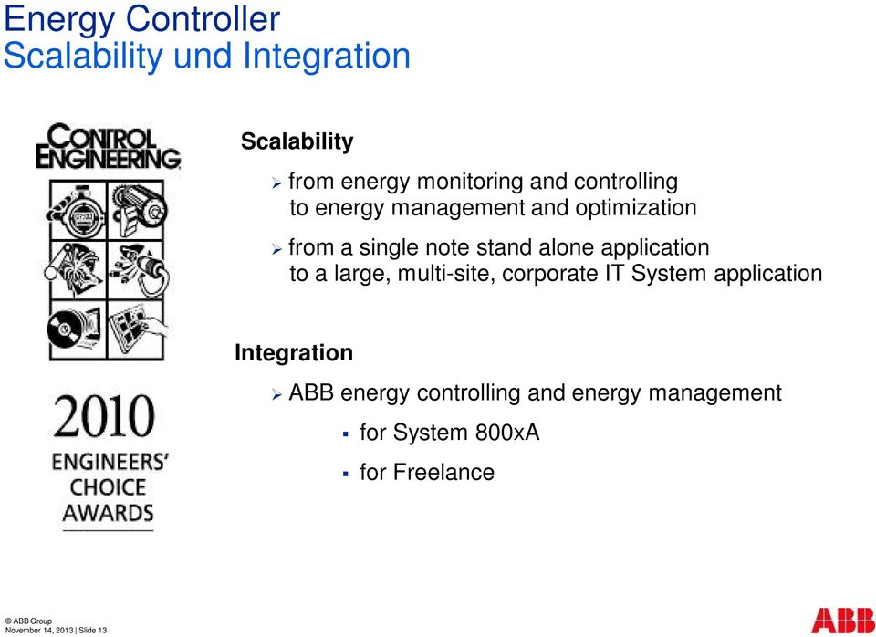 application to a large, multi-site, corporate IT System application Integration ABB