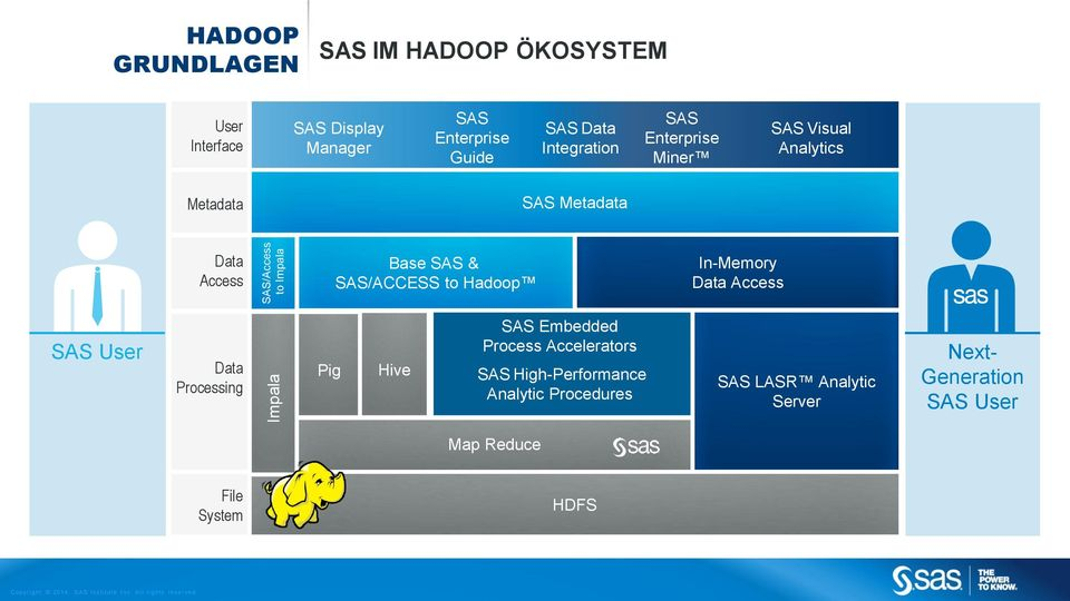 Access SAS User Data Processing Pig Hive SAS Embedded Process Accelerators SAS High-Performance Analytic Procedures SAS LASR Analytic