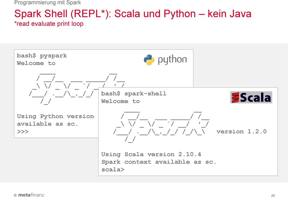 0 /_/ Welcome to Using Python version 2.6.6 / SparkContext / / / available as sc.