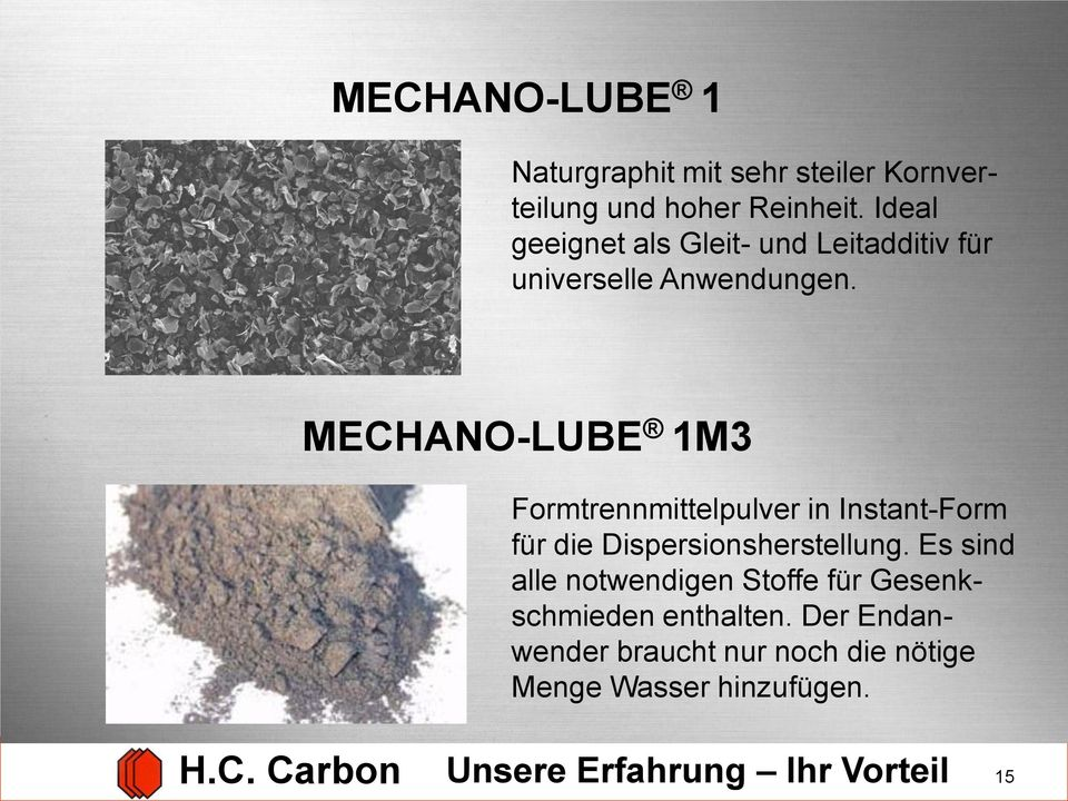 MECHANO-LUBE 1M3 Formtrennmittelpulver in Instant-Form für die Dispersionsherstellung.