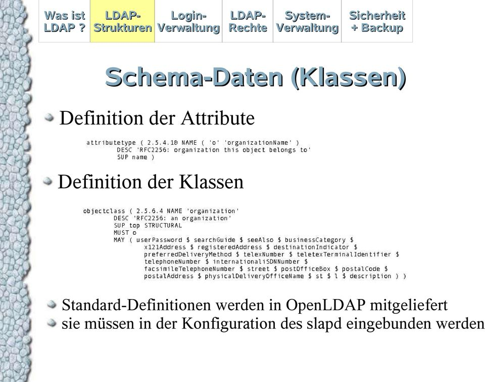 Standard-Definitionen werden in OpenLDAP