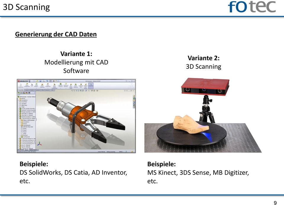 Scanning Beispiele: DS SolidWorks, DS Catia, AD