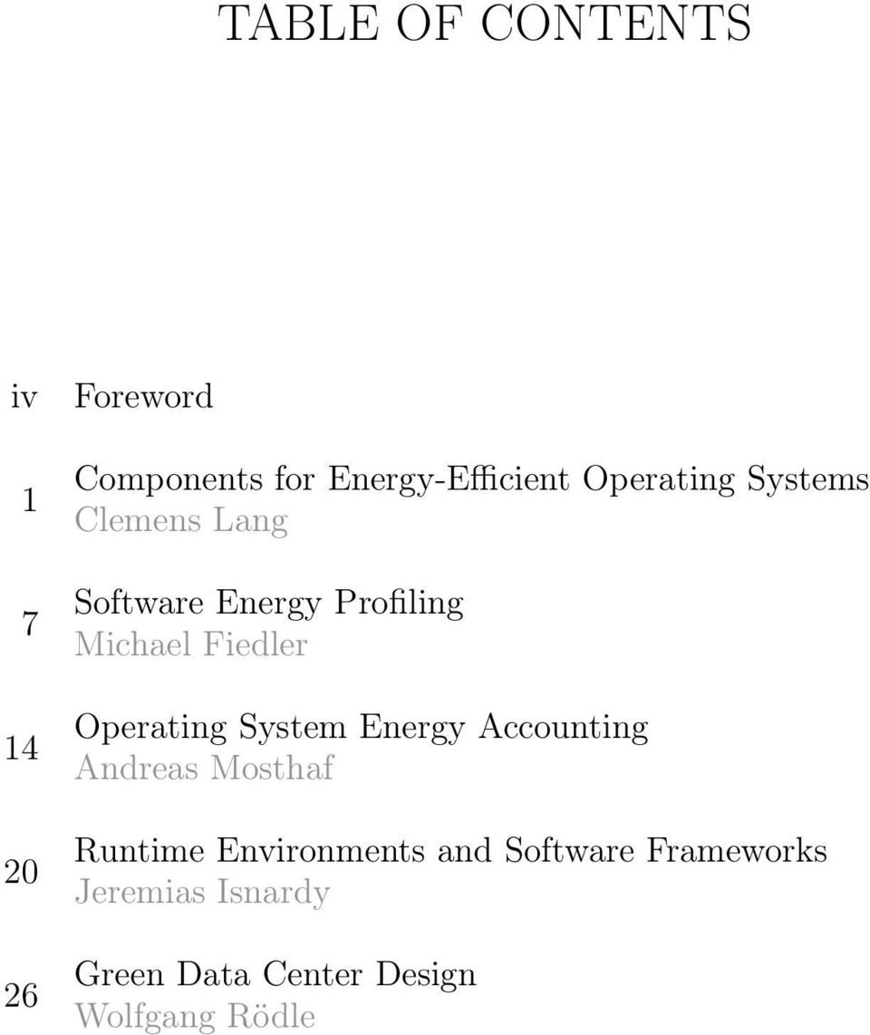 Operating System Energy Accounting Andreas Mosthaf Runtime Environments