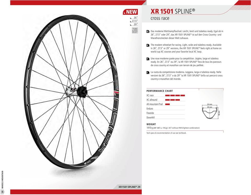 5 or 29 versions, the XR 1501 SPLN feels right at home on world cup XC courses and your favorite local XC loop. Une roue moderne parée pour la compétition. Légère, large et tubeless ready. n 26, 27.
